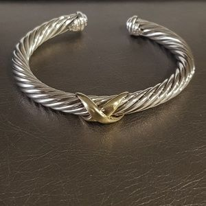 David Yurman 7mm  Cable Gold X Bracelet